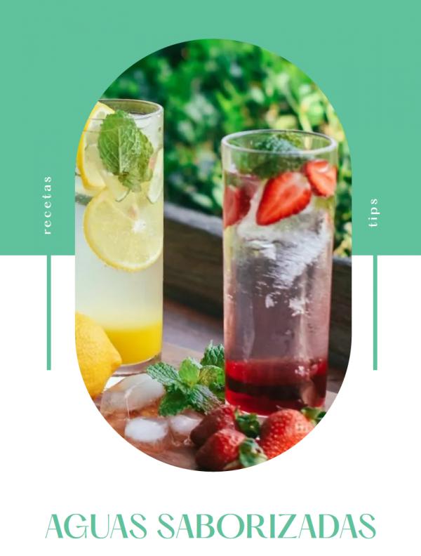 Aguas saborizadas de frutilla y limon