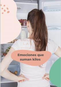 portada del ebook guia nutricional emociones que suman kilos en que se ve una chica de espaldas con la heladera abierta como eligiendo qué comer